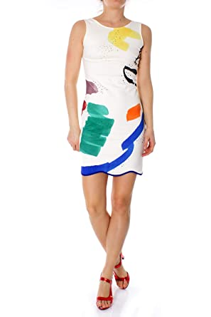 ecd4d9a6b3e619 Desigual Robe Courte Femme Vest Brush 19SWVK20 m Blanc: Amazon.fr ...