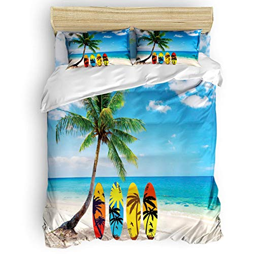 (COVASA Luxury 4-Piece Bedding Set Beach Palm Tree Surf Boards Duvet Covers Set Duvet Cover Bed Sheet Pillow Cases Ocean House Decor Twin Pattern)