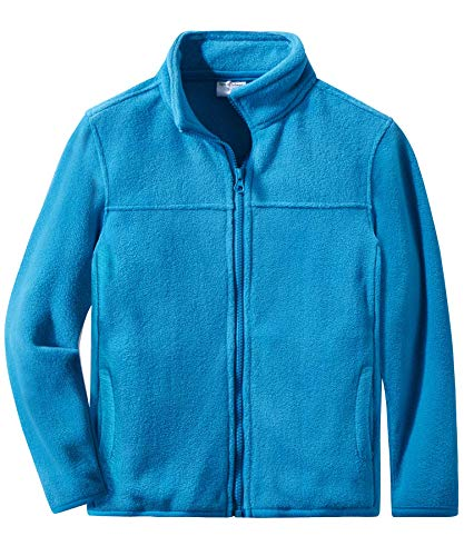 (Spring&Gege Youth Solid Full-Zip Polar Fleece Jacket for Boys and Girls Size 9-10 Years Turquoise)