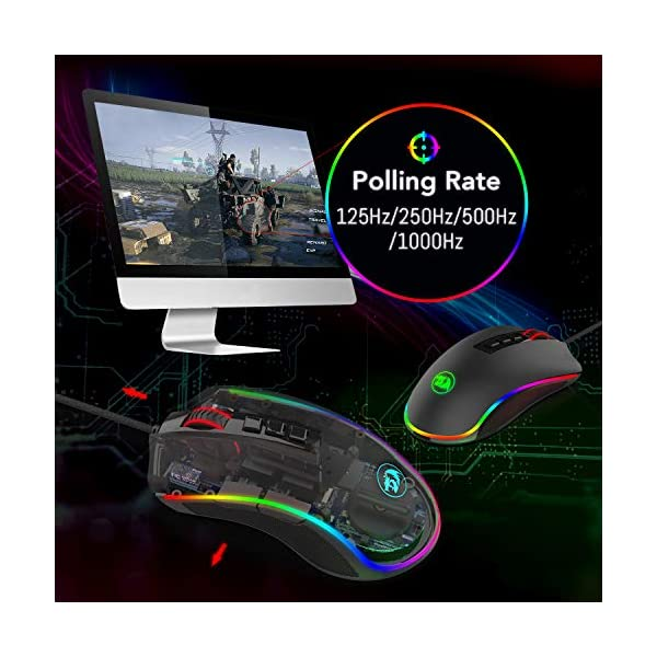 Redragon M711 Cobra Gaming Mouse with 16.8 Million RGB Color Backlit, 10,000 DPI Adjustable, Comfortable Grip, 7…