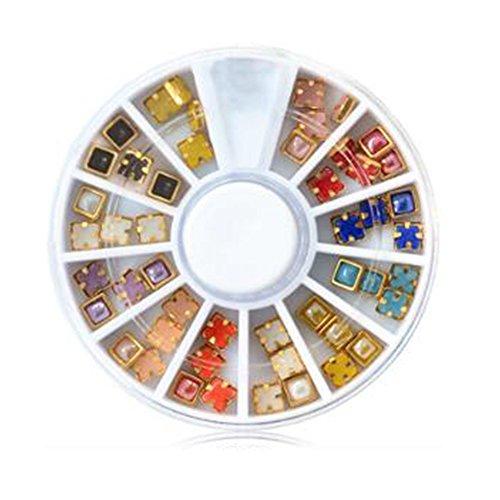 Garrelett Multicolored 3D Nail Art Gold Edge Pearl Beads Wheels Glitter Decal DIY Stud Set for Nail Art DIY Decoration & Cell Phone (#C2)