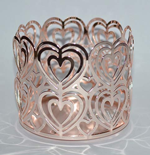 Bath Body Works 3 Wick Candle Sleeve Holder Rose Gold Cutout Hearts (Heart Candle Gold)