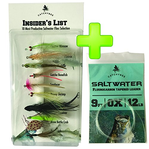CatchyBee Saltwater Flies Assortment INSIDER'S List | 10 - Best Hand Tied Fly Fishing Flies Patterns for Bonefish Tarpon Mackerel Tarpon | Best Fly Fishing Gifts