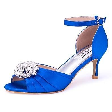 bd63ddd67baf0 SheSole Women s Royal Blue Dress Shoes Wedding Low Heels Sandals Open Toe  Pumps Rhinestones US Size