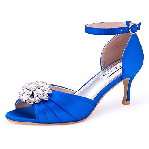 ef5e277cc75 Womens Low Kitten Heel Blue Sandals Peep Toe Wedding Bridal Party Evening  Court Shoes(Size