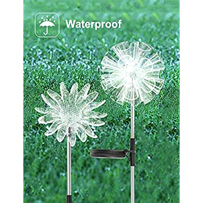 UNIWA LED Solar Garden Stake Decoration Lights, 3 Pack Outdoor Solar Powered 7 Color-Changing Flower Waterproof Lights