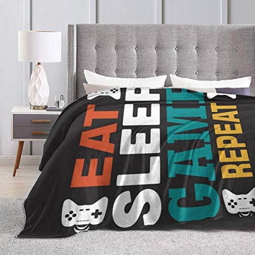 50x40inch Bed Blanket and Throws Soft Warm Fuzzy Lightweight Couch Sofa Bed for Adult Kids Eat Sleep Game Repeat Blankets Queen Size,Game Quote and Saying