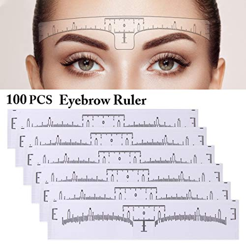 Eyebrow Ruler, Kapmore 100PCS Disposable Eyebrow Ruler Makeup Sticker Makeup Tool Disposable Adhesive Eyebrow Sticker for Tattoo Makeup (Eyebrow Ruler)