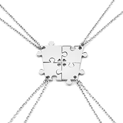 Charm.L Grace 4 Piece Best Friend Necklaces friendship Pendant Charm Necklace Set Puzzle