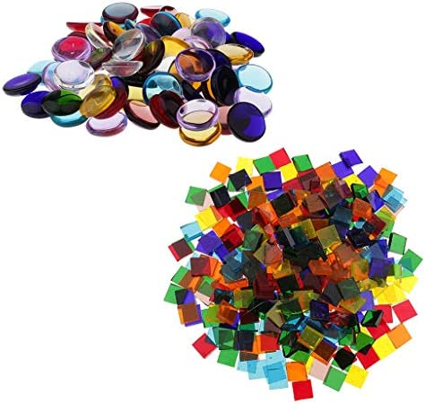 Baoblaze ガラスタイル モザイクタイル 丸い 正方形 マルチカラー DIY フォトフレーム装飾 家の装飾 約260g入り