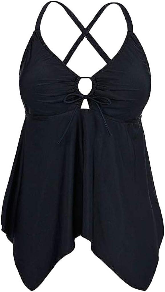 WUAI Womens Tankini Swimsuits Front Tie Cross Back Flowy Swim Tops Plus Size Swimdress Tummy Control Tankini Tops
