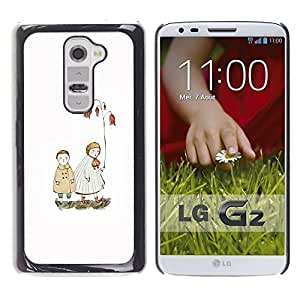 LG G2 , JackGot - Impreso colorido protector duro espalda Funda piel de Shell (Blanca Pastel Mar Amor Pareja)
