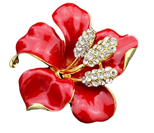 Lily Flower Brooch - Hosaire Women's Lily Flower Brooch Pin Rhinestones Breastpin for Wedding/Banquet/Bouquet Red