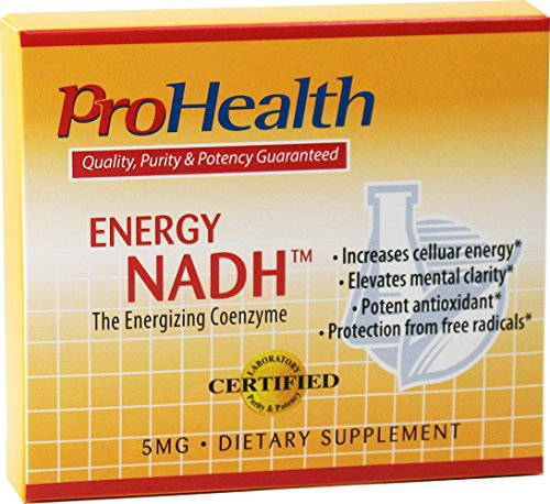 ProHealth Energy NADH 5 mg, 90 tablets – Boost Energy, Mental Clarity, Alertness and Concentration Unique Cellulose Matrix Coating for Enhanced Absorption Gluten Free Dairy Free Vegetarian