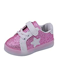 Happy Cherry Baby Girls Cute Star Sneaker LED Flashing Fashion Sneaker First Walking Shoes