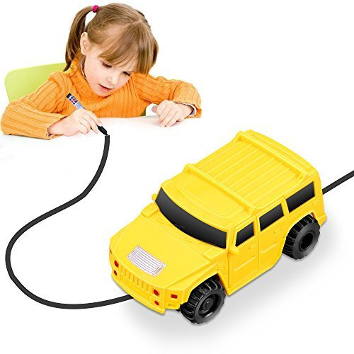 YoCosii 1PCS Mini Vehicle Model Induction & Follow Black Line Car Toy Yellow | Educative, Imaginative, Learning & Fun | for Boys and Girls Ages 1-6