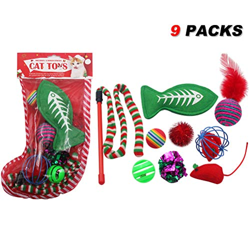 SCIROKKO Cat Toys Set Pet Puppy Kitten Holiday Toys Variety Pack(9 Pieces) - Includes Jingle Toy,Mice Ball,Catnip Fish,Feather Ball,Mylar Crinkle Ball,Cat Teaser Wand & More Cute Kitty Toys