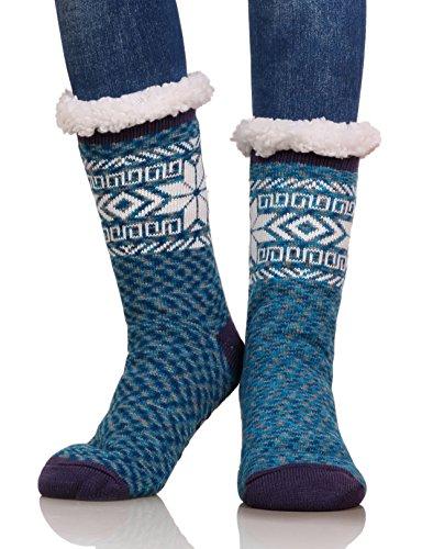(Dosoni Women's Knee High Snowflake Fleece Lining Winter Slipper Socks (Blue))