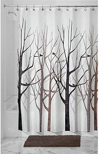 /Cortina de Ducha 54-Inch by 78-Inch Gray and Black InterDesign Forest/