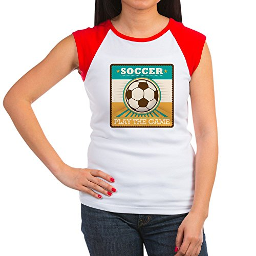 Royal Lion Women's Cap Sleeve T-Shirt Soccer Football Futbol Play The Game - Red/White, S (4-6)