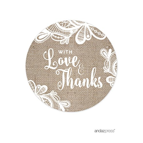 ace Wedding Collection, Round Circle Gift Tags, With Love and Thanks, 24-Pack (Lace Gift Tag)