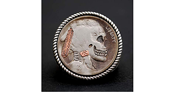 Chevalière Buffalo Indian Nickel Coin sterling silver feather Wrap rustique