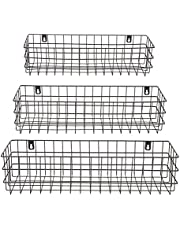 Wall Mounted Wire Baskets for Storage (3 Sizes, Black, 3 Pieces)