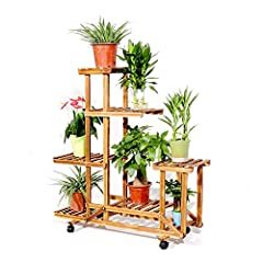 Wood Plant Shelf Multilayer Plant Stand With Wheels Indoor Outdoor Home Garden Flower Pot Stand ShelfSpecificationMaterial: Pine WoodColor: Dark WoodenWeight: 4.5kg/9.9lbSize: (L x W x H) - 95 x 26 x 96cm/3.1 x 0.9 x 3.1ft Package Includes:1 ...