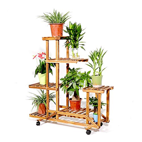 - 6 Tire Rolling Plant Stand Natural Wood Plant Rack with Wheels Indoor Outdoor Bonsai Flowers Display Shelf for Yard Garden Patio Balcony