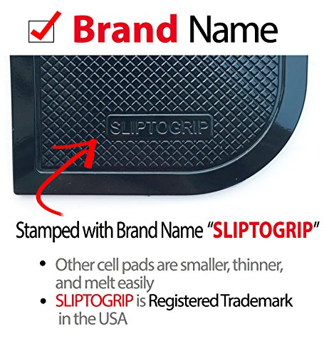 SlipToGrip Premium Cell Pads 6 Pack - Two Universal Cell Pads and Alcohol Pad. Sticky Anti-Slip Gel Pads - Holds Cell Phones, Sunglasses, Coins, Golf Cart, Boating, Speakers - Brand Name