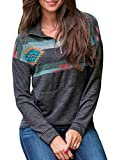 Anloli Women Women 1/4 Zip Up Floral Printed Kangroo Pocket Pullover Casual Long Sleeve Sweatshirt Tops XXL Grey