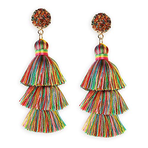 Colorful Layered Tassel Earrings with Multi Colored Druzy Top Bohemian Festival Dangle Drop Tassel Fringe Earrings LGBT Pride Day Earrings for Women Girls
