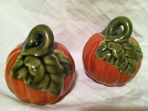 Autumn~Fall~Harvest Pumpkin Shaped Salt and Pepper Shakers for Halloween or Thanksgiving -