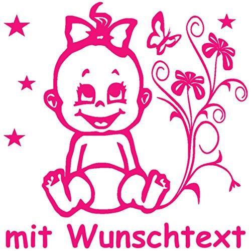 Hoffis Premium Babyaufkleber mit Name/Wunschtext Baby Kinder Autoaufkleber - Motiv 1309 (16 cm) - Farbe und Schriftart wählbar MY-BABY-SHOP