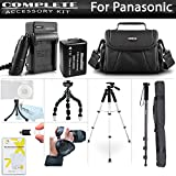 All In Accessory Kit For Panasonic Lumix DMC-FZ80K, DMC-FZ70K, DMC-FZ100, DMC-FZ47 DMC-FZ150K Camera Includes Extended Replacement DMW-BMB9 Battery + Charger + 57'' Tripod + 67'' Monopod + Case + MORE