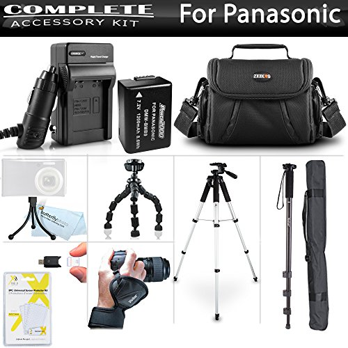 All In Accessory Kit For Panasonic Lumix DMC-FZ80K, DMC-FZ70K, DMC-FZ100, DMC-FZ47 DMC-FZ150K Camera Includes Extended Replacement DMW-BMB9 Battery + Charger + 57'' Tripod + 67'' Monopod + Case + MORE by ButterflyPhoto