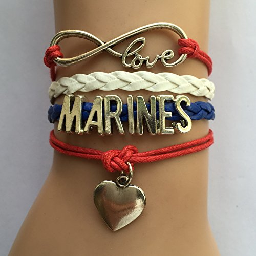 Red White Royal Blue Rope Braid Leather Handmade Infinity Love Marines Heart Bracelet Team Sports Gift