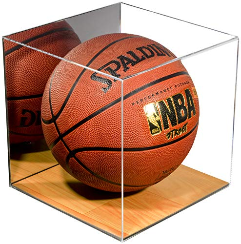 Deluxe Acrylic Full Size Basketball Display Case with Simulated Wood Floor and Mirror ()