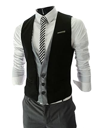 d97a6e478fcb32 Quge Mens Waistcoat Gilet Business Casual Vest Fake Two Pieces Suits Jacket  Sleeveless Blazer Black XL  Amazon.co.uk  Clothing