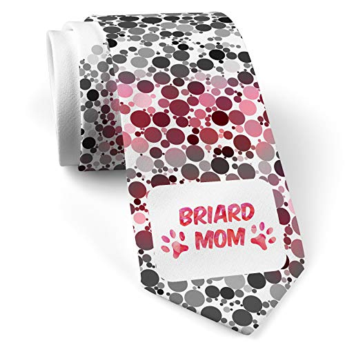 - Neck Tie with Dog & Cat Mom Briard White with Color Print
