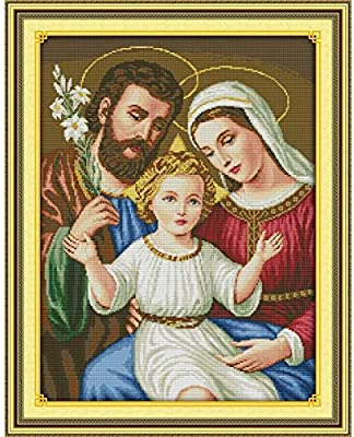 Joyautum DIY Printed on Cloth 14CT Counted Cross Stitch Kits Set Chinese Embroidery Needlework Religious Jesus Family 11ct Print Fabric