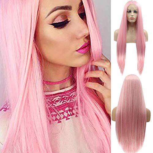 ❤️❤️ Fashio Pink Wigs Long Natural Straight Heat Resistant Synthetic Hair Replacement Wig for Women Half Hand Tied (26inch, -