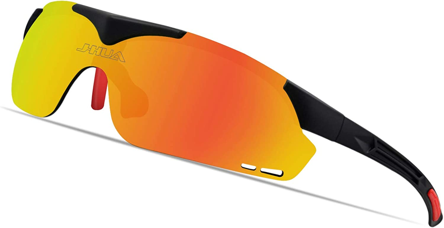 JHUA Polarized Sport Sunglasses Men Women for Fishing Cycling running with 3 lenses