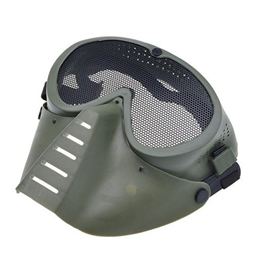 SHARPTECK Adjustable Steel Mesh Airsoft Paintball BB Gun Full Face Eyes Nose Wear Protector Safety Guard Cosplay Mask (Green)