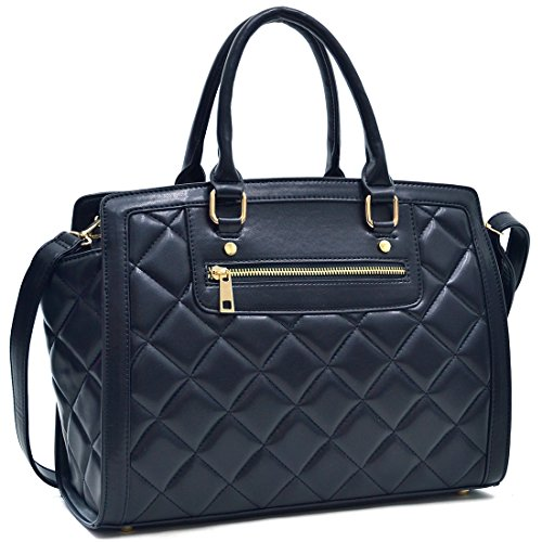 Dasein Womens Quilted Handbag Fashion Shoulder Bag Convertible Satchel Bag Designer Purse (Quilted Large Handbag)