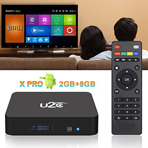 Android TV Box 7.1【Amlogic S905X Quad Core】2018 Newest【2gb Ram+8gb Rom】4K HD 3D Smart Media Player with 64 Bit H.265 2.4 WiFi by U2C