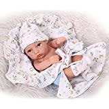 ZIYIUI 11 inch Mini Lifelike Reborn Baby Dolls Headband Washable Boy Full Silicone Vinly Doll