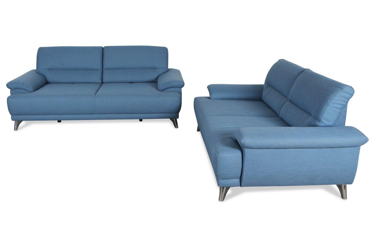 Sofa Couch Sit&More Garnitur 3-2 bodega - mit Sitzverstellung - Blau ...
