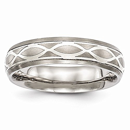 Edward Mirell Titanium and Sterling Silver Satin Finish Infinity Engraved Wedding Band - Size 6.5 by Edward Mirell