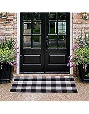"Homcomoda Doormats for Entrance Way Outdoors/Indoor Cotton Plaid Checkered Door Mat Hand Made Braided Floor Mats (23.6"" x 51.2"")"